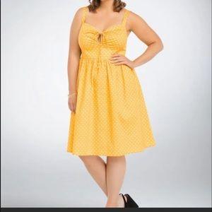 torrid retro chic yellow polka dot dress